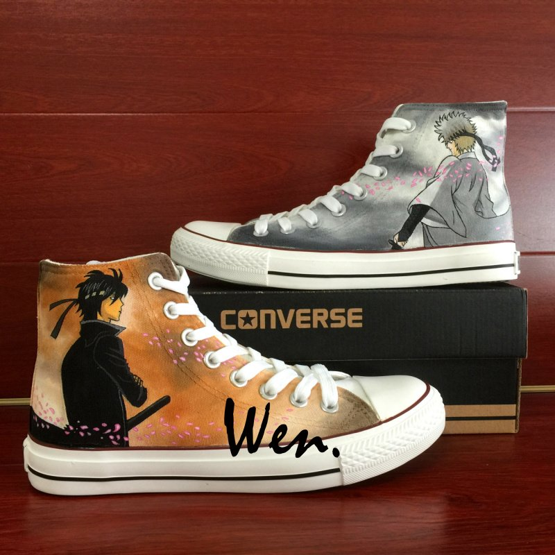 Gintama Men Women Converse All Star Custom Hand Painted Shoes Canvas Sneakers Unique Gifts