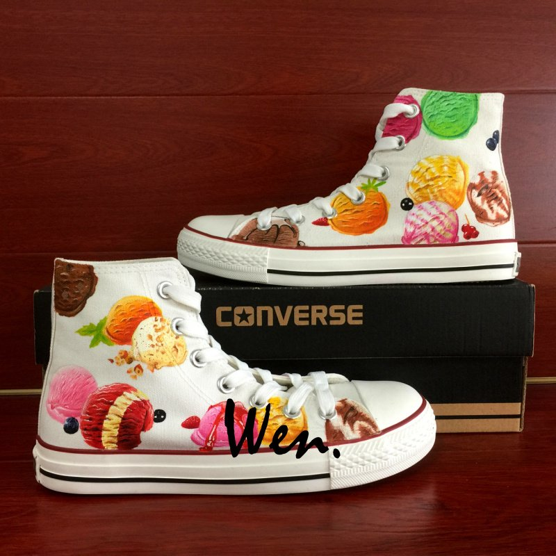 Custom Design Converse Chuck Taylor Men Women Ice Cream High Top Canvas Sneakers Unique Presents