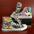 Hand Painted Converse Shoes Tattoo Design High Top Canvas Sneakers Men Women Unique Gifts