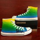 Custom Converse All Star Hand Painted Shoes Color Gradient Yellow Green Fashion Canvas Sneakers