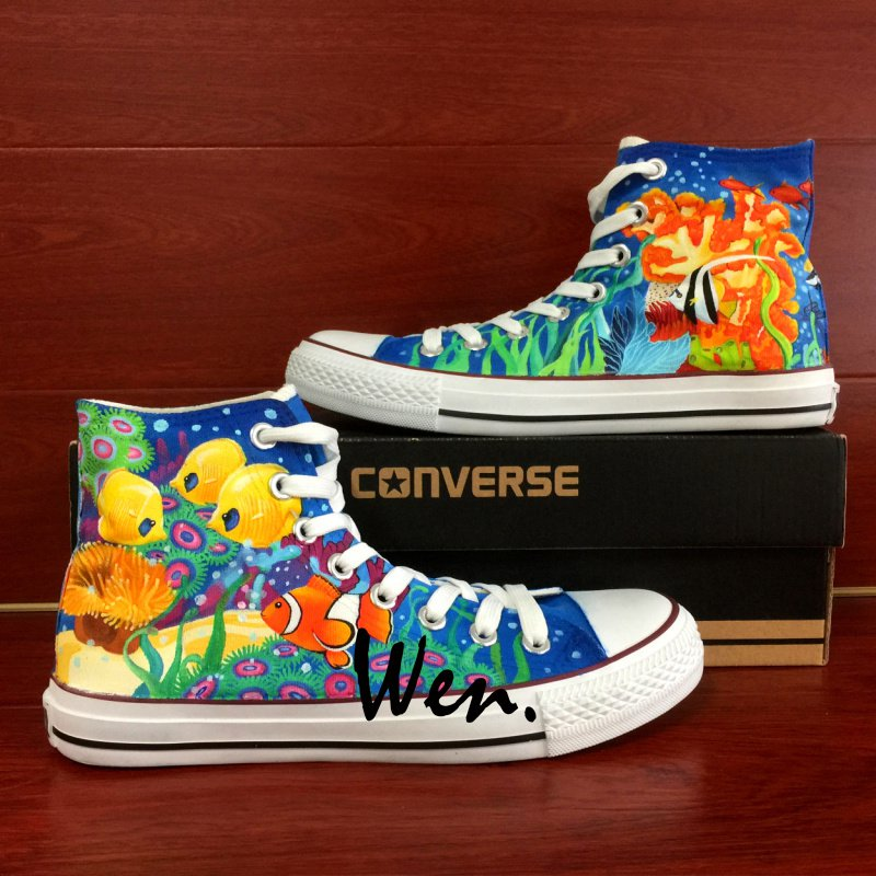 Hand Painted Converse Shoes Colorful Sea World Men Women High Fashion Canvas Sneakers Gifts