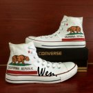 California Flag Bear Hand Painted Converse Shoes High Top White Canvas Sneakers Birthday Gifts