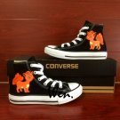 Men Women Converse Shoes Pokemon Vulpix Hand Painted Shoes Black High Top Canvas Sneakers Gifts