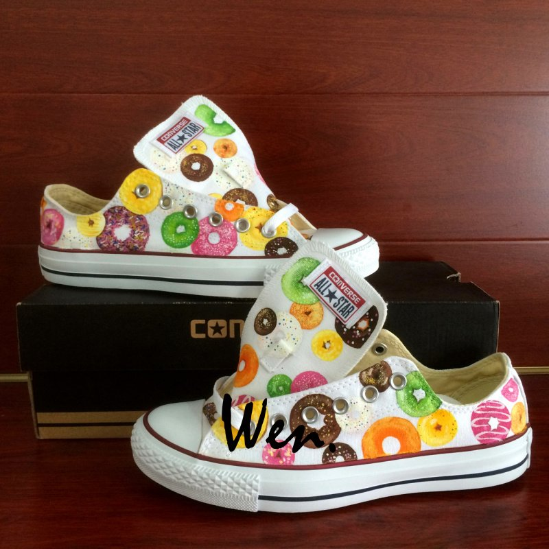 Low Top Converse Donuts Hand Painted Canvas Shoes White Sneakers Birthday Gifts Men Women
