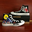 Fashion Converse Shoes Nightmare Before Christmas Hand Painted Shoes High Top Black Canvas Sneakers