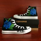 Blue Rose High top Converse Shoes Men Women Custom Hand Painted Shoes High Top Canvas Sneakers