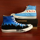 Hand Painted Shoes Converse Chicago Flag City Skyline Men Women High Top Canvas Sneakers Gifts