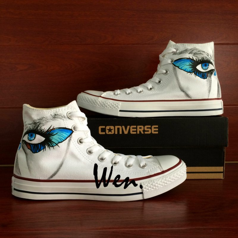 Personalized Shoes Converse Butterfly Eyes Custom Hand Painted Shoes High Top Canvas Sneakers