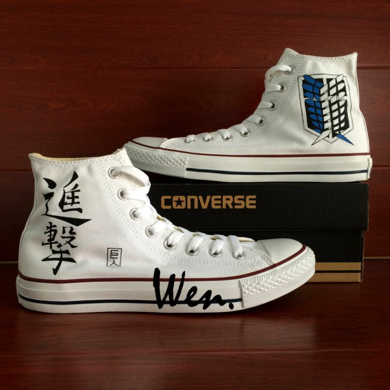 Anime Sneakers Attack On Titan Hand Painted Converse Shoes White Fashion Canvas Sneakers Gifts