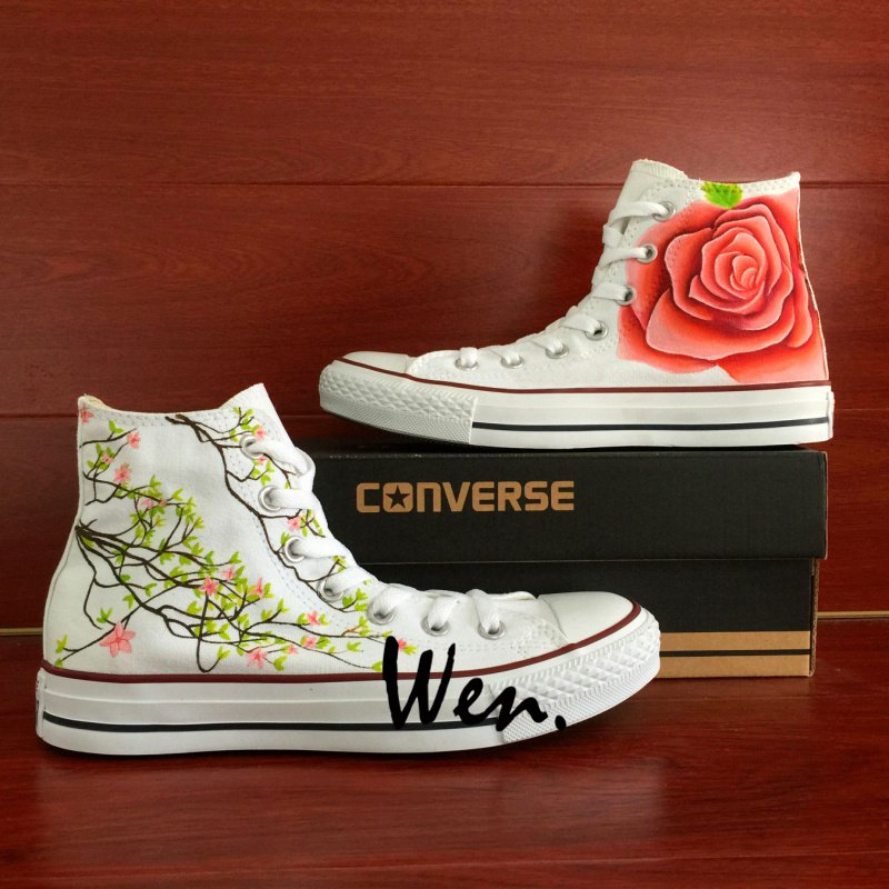 Pink Rose Floral Shoes Converse Men Women Hand Painted Shoes High Top Fashion Canvas Sneakers Gifts