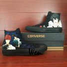 All Black Converse Death Note Hand Painted Shoes High Top Fashion Canvas Sneakers Gifts