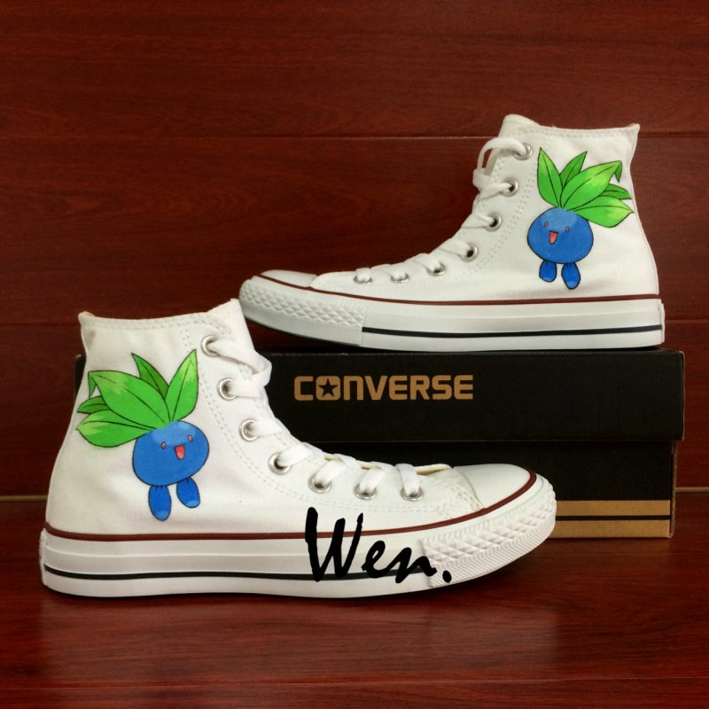 High Top Converse Pokemon Oddish Hand Painted Shoes White High Top Canvas Sneakers Gifts