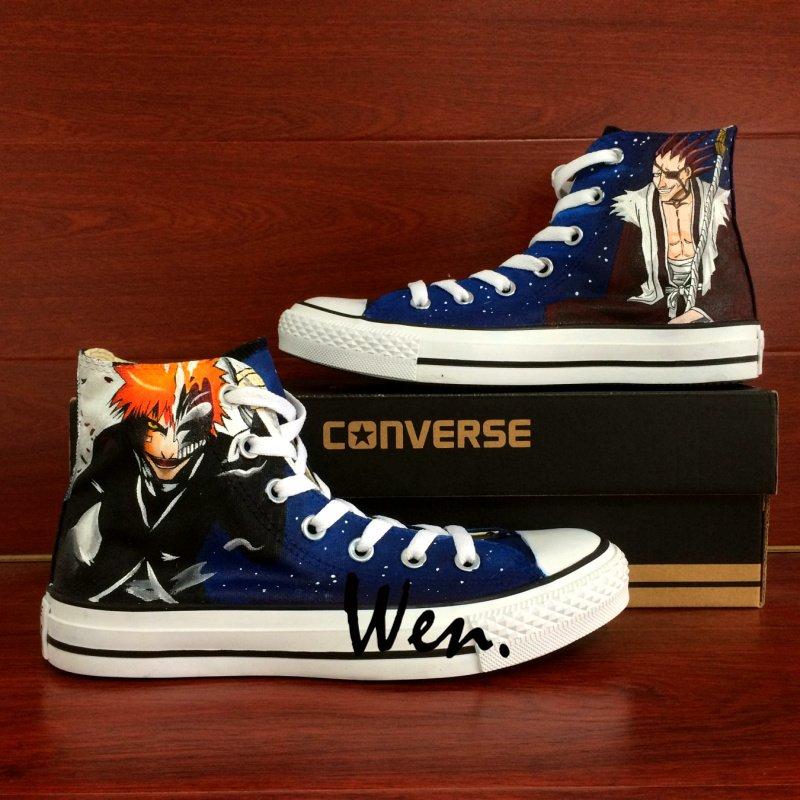 Anime Sneakers Converse Bleach Kurosaki Ichigo Kenpachi Hand Painted Canvas Shoes Unique Gifts