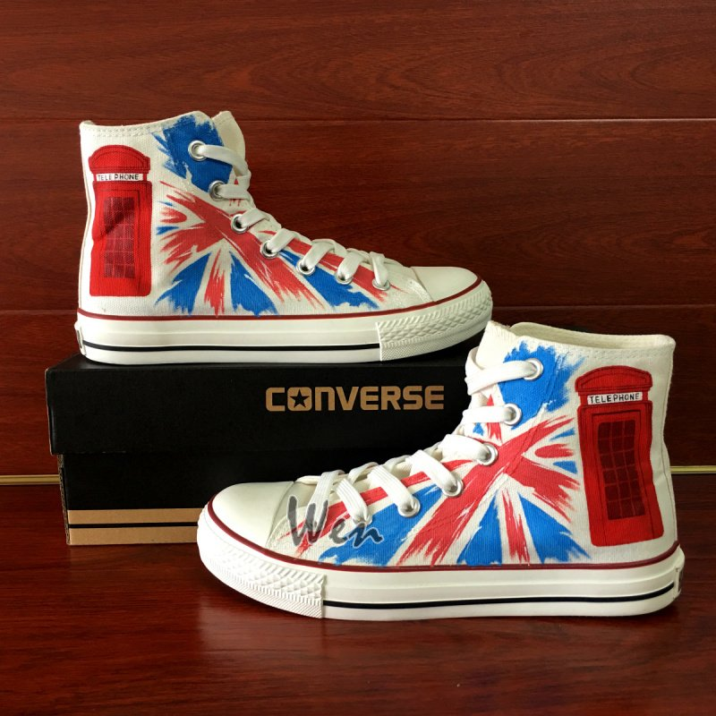Custom Design Hand Painted Converse Shoes British Flag Telephone Booth Unisex Canvas Sneakers