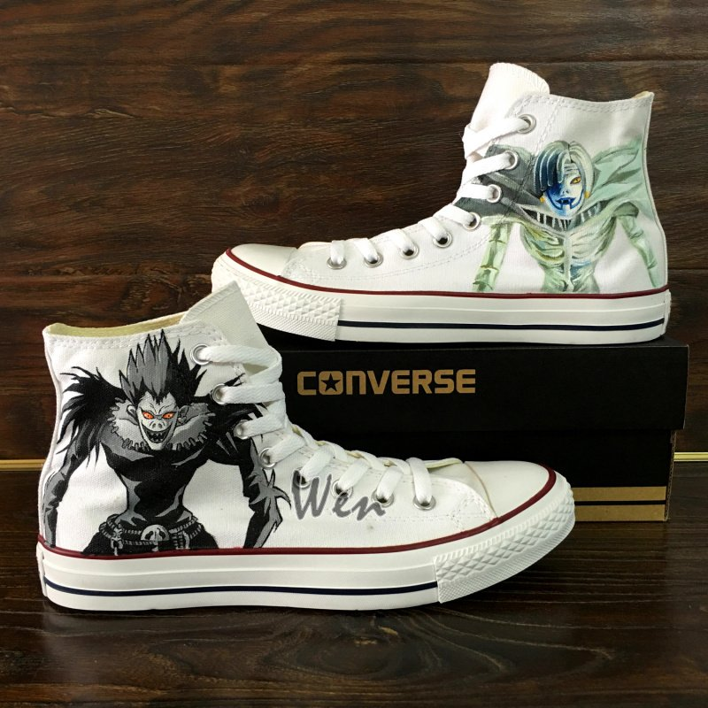 Death Note Design Anime Hand Painted Converse Shoes High Top Man Woman's Canvas Sneakers