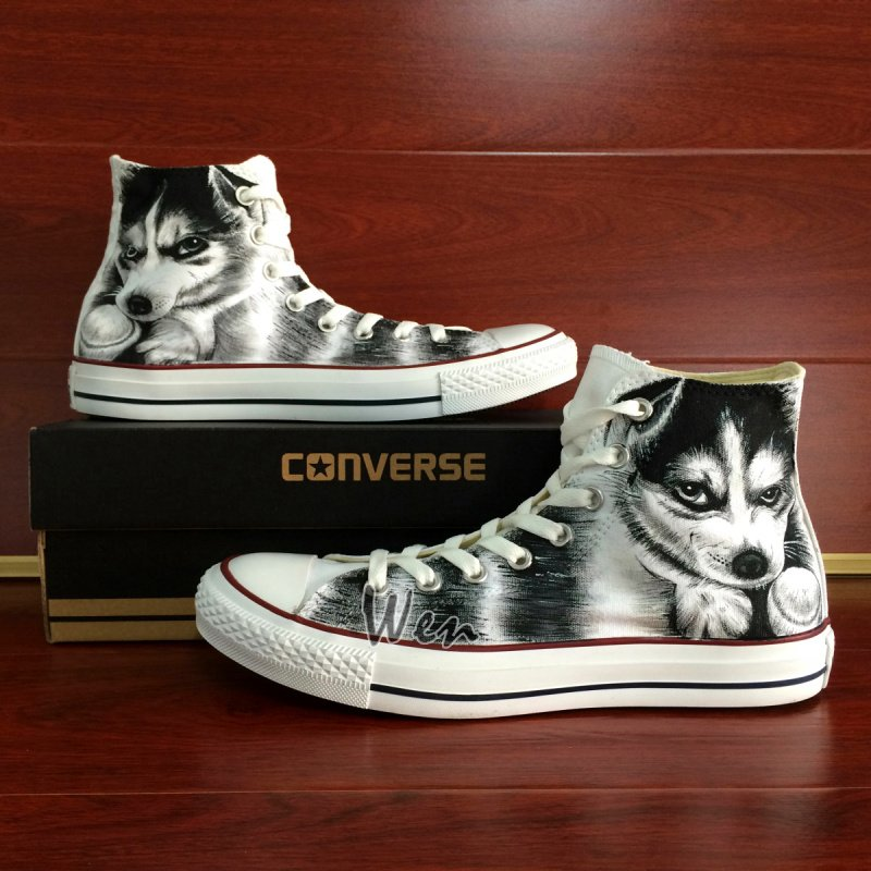 Hand Painted Canvas Sneakers Original Design Pet Dog Husky Converse Chuck Taylor Shoes