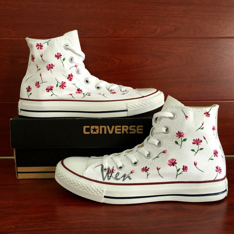 Floral Flower Converse All Star Hand Painted Canvas Shoes White High Top Sneakers