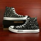 Design Music Notes Black Converse All Star Hand Painted Canvas Shoes Unisex Sneakers