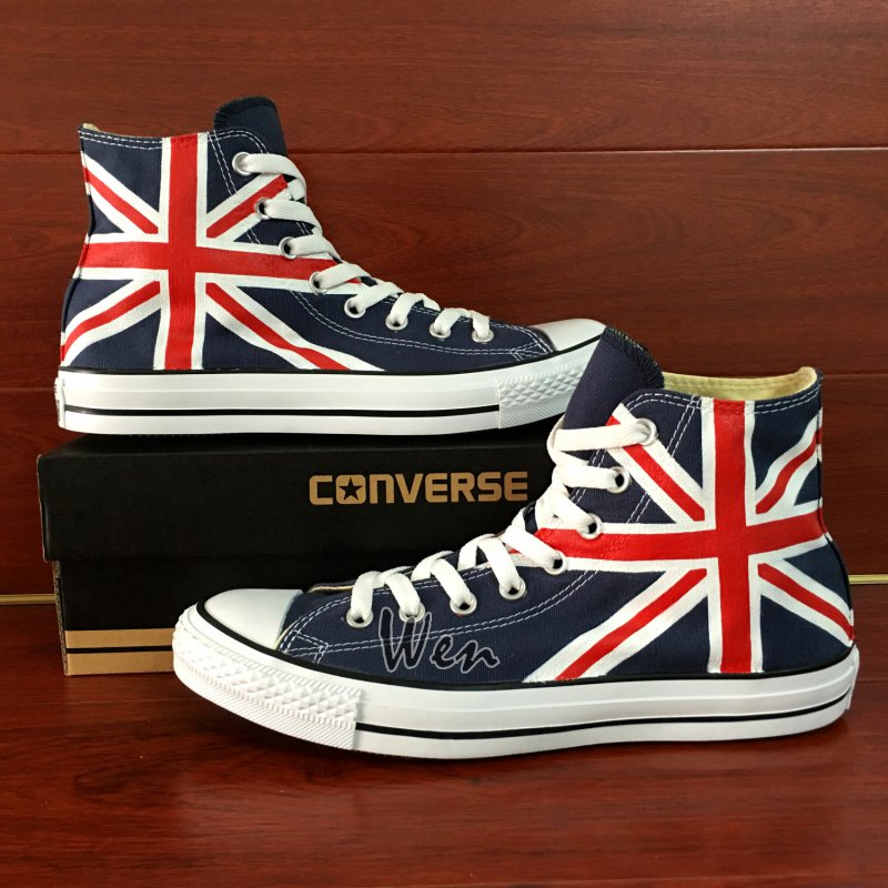 Union Jack UK Flag Design Hand Painted Shoes Man Woman's Blue Converse All Star Sneakers