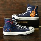 Custom Guitar Music Note Hand Painted Shoes Original Design Canvas Sneakers for Man Woman