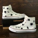 Original Design Bullet Holes White High Top Converse Hand Painted Canvas Sneakers