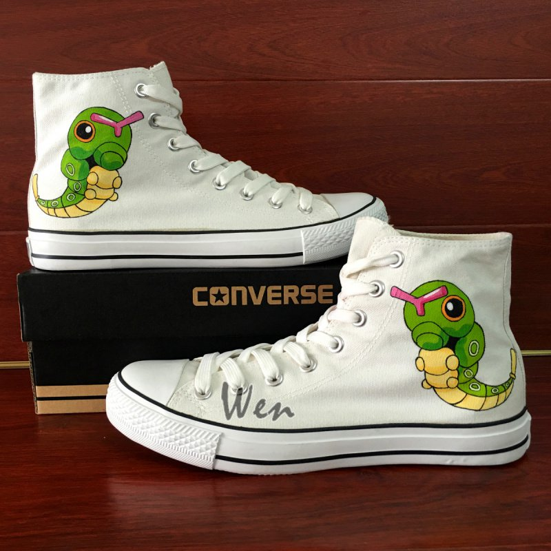 Anime Design Pokemon Caterpie Converse All Star Hand Painted Shoes Men Women's Canvas Sneakers