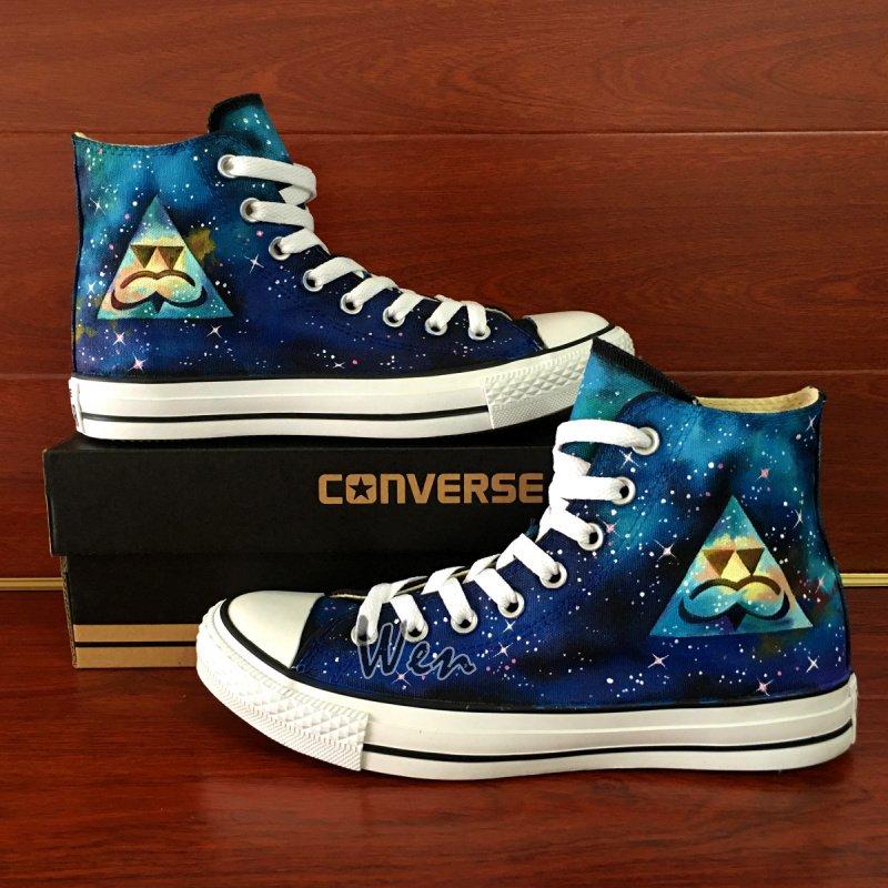 Hand Painted Converse Shoes Original Design Galaxy Nebula Mustache Logo Canvas Sneakers