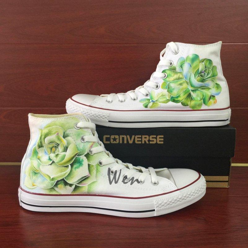 Original Design Succulent Plants Converse All Star Hand Painted Shoes for Men Women