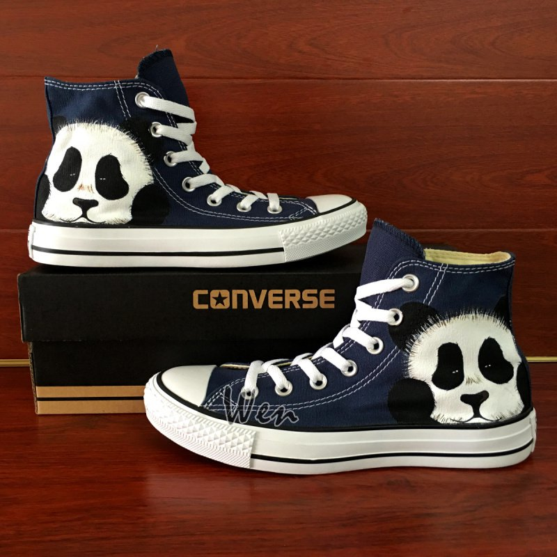 Original Design Cute Panda Hand Painted Converse Shoes Blue High Top Canvas Sneakers
