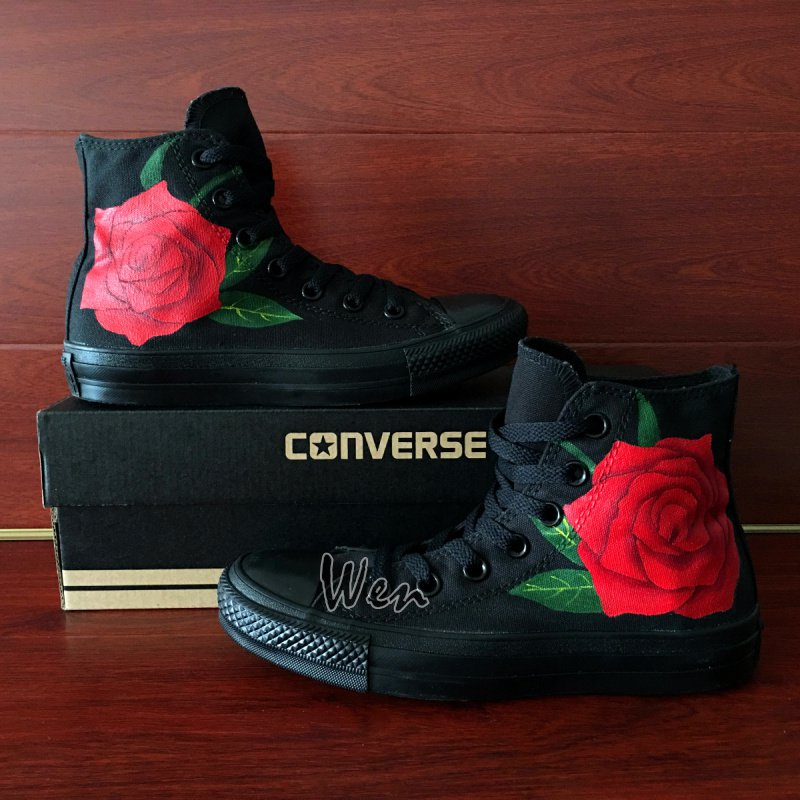 Hand Painted Flower Shoes Original Design Red Rose Converse Chuck Taylor Sneakers