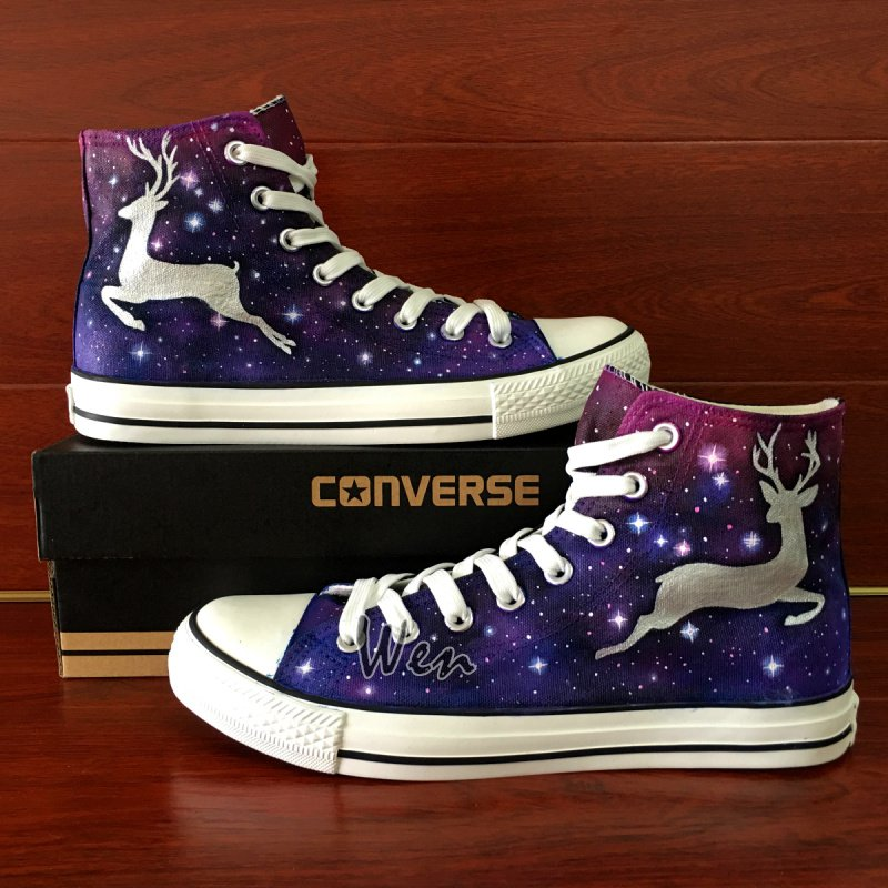 Custom Design Deer Galaxy Unisex Converse All Star Shoes Hand Painted Canvas Sneakers