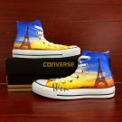 Eiffel Tower Custom Design Hand Painted Shoes Man Woman's Canvas Sneakers