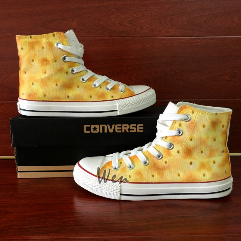 Original Design Soda Cracker Biscuit Converse Shoes Hand Painted Canvas Sneakers Unisex