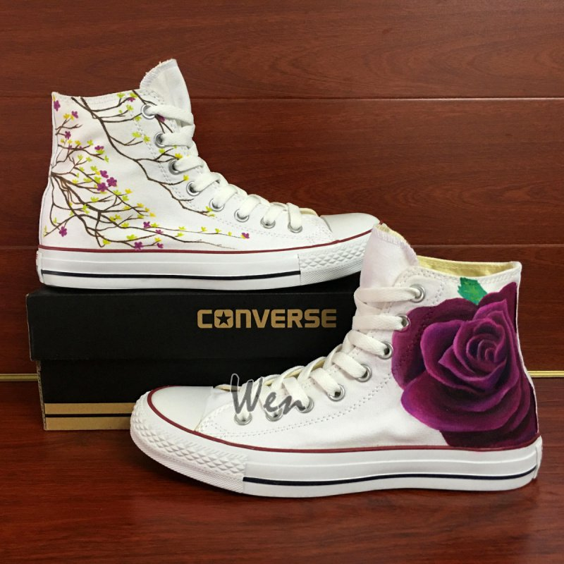 High Top Converse All Star Original Design Flower Floral Hand Painted Canvas Shoes