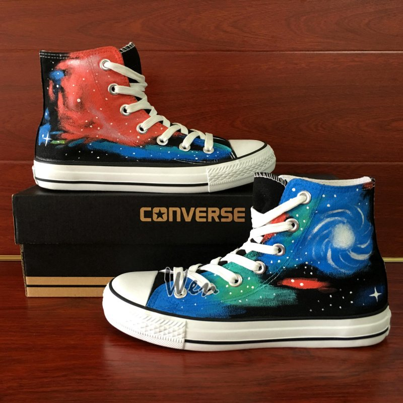 Original Colorful Galaxy Space Converse Unisex Hand Painted Canvas Shoes High Top Sneakers