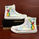Man Woman's Hand Painted Shoes Original Design Colorful Deer White Converse All Star