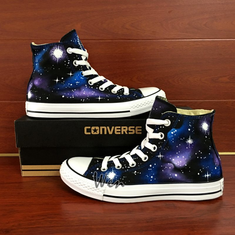 Unisex Hand Painted Shoes Original Design Galaxy Stars Converse High Top Canvas Sneakers