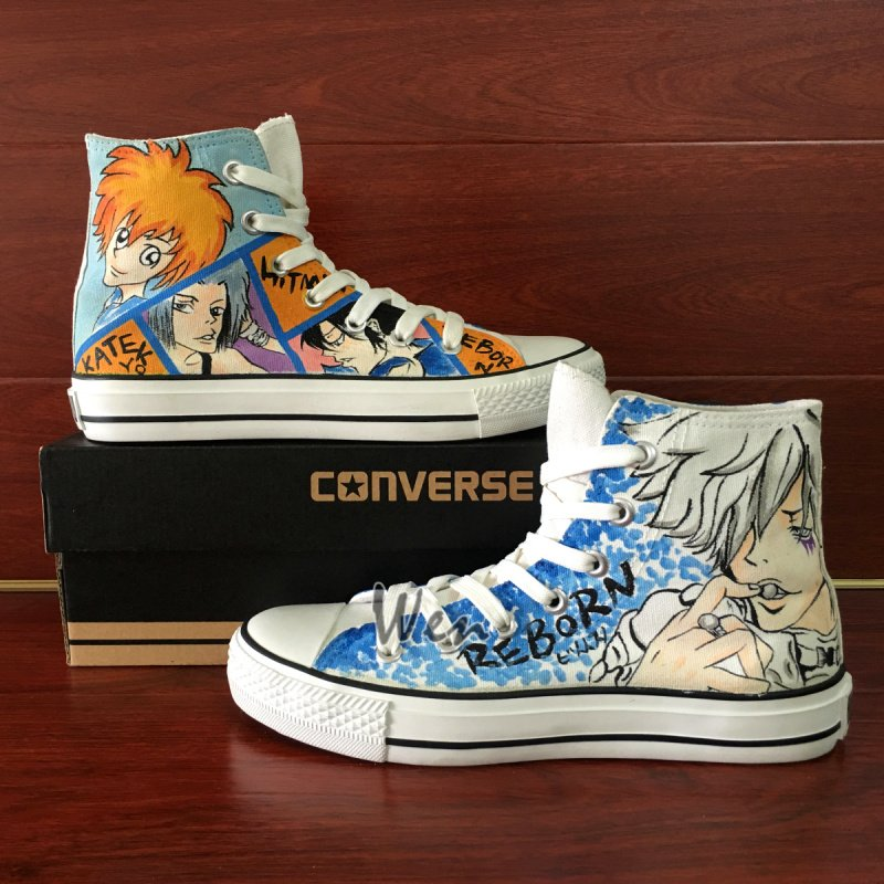 Hitman Reborn Converse All Star Design Hand Painted Anime Shoes Unisex Canvas Sneakers
