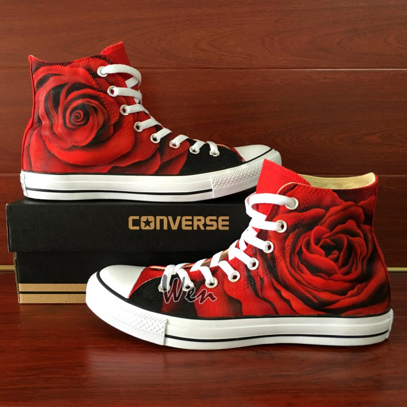 Converse Chuck Taylor Original Design Red Rose Hand Painted Canvas Shoes High Top Sneakers