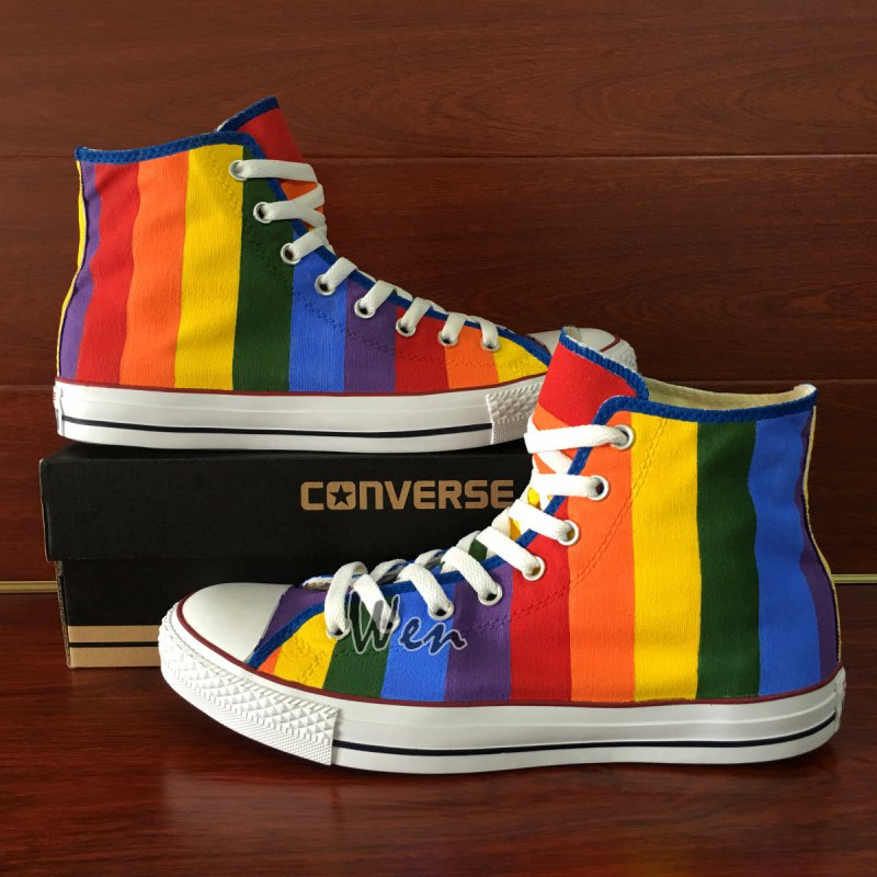 Original Design Rainbow Converse All Star Shoes Men Women Hand Painted Canvas Sneakers