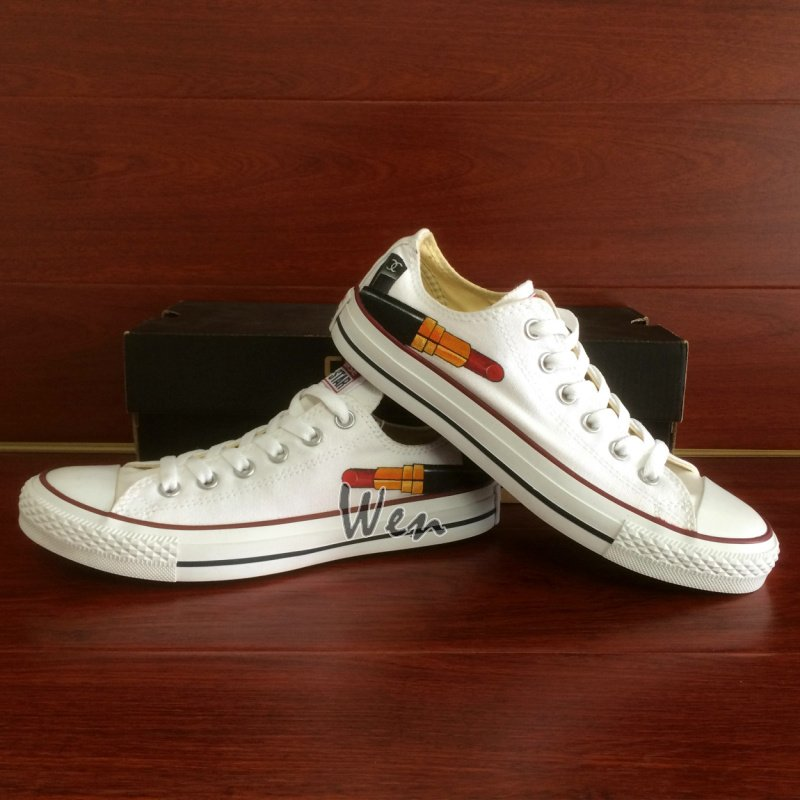 Red Lipstick Custom Design Hand Painted Shoes Men Women's Low Top Converse All Star
