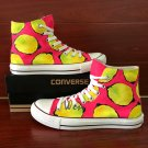 Hand Painted Fruit Lemon Canvas Shoes Original Design Converse All Star High Top Sneakers