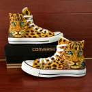 Design Leopard Animal Converse Shoes Original Hand Painted Canvas Sneakers for Man Woman