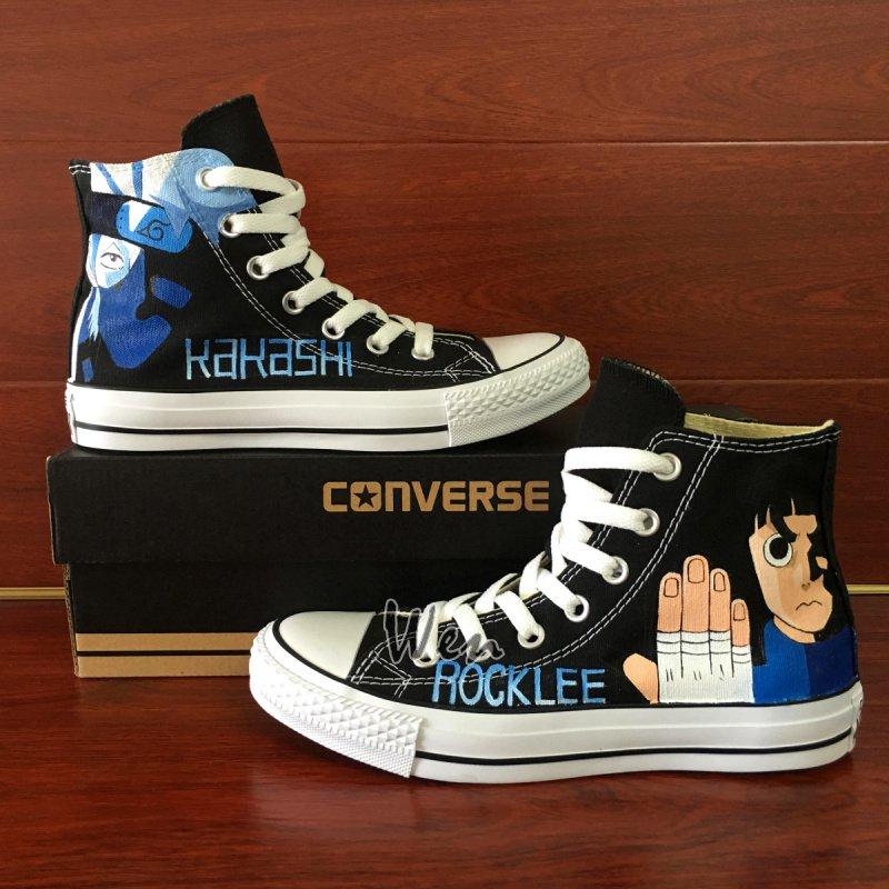 Hand Painted Anime Shoes Naruto Hatake Kakashi Rock Lee Unisex Converse Chuck Taylor