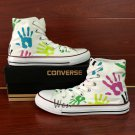 Original Design Palm Prints White Converse All Star Hand Painted Canvas Shoes