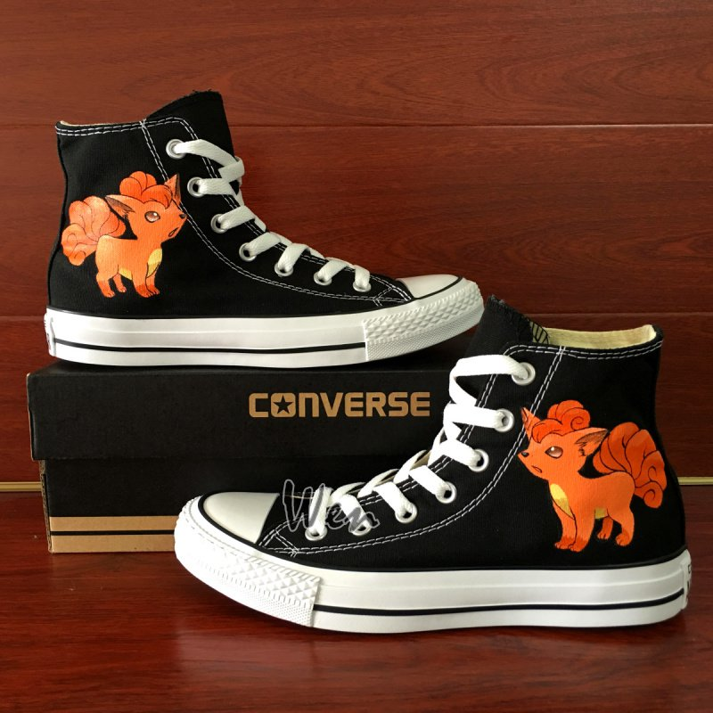 Hand Painted Canvas Shoes Unisex Pokemon Vulpix Anime Converse All Star