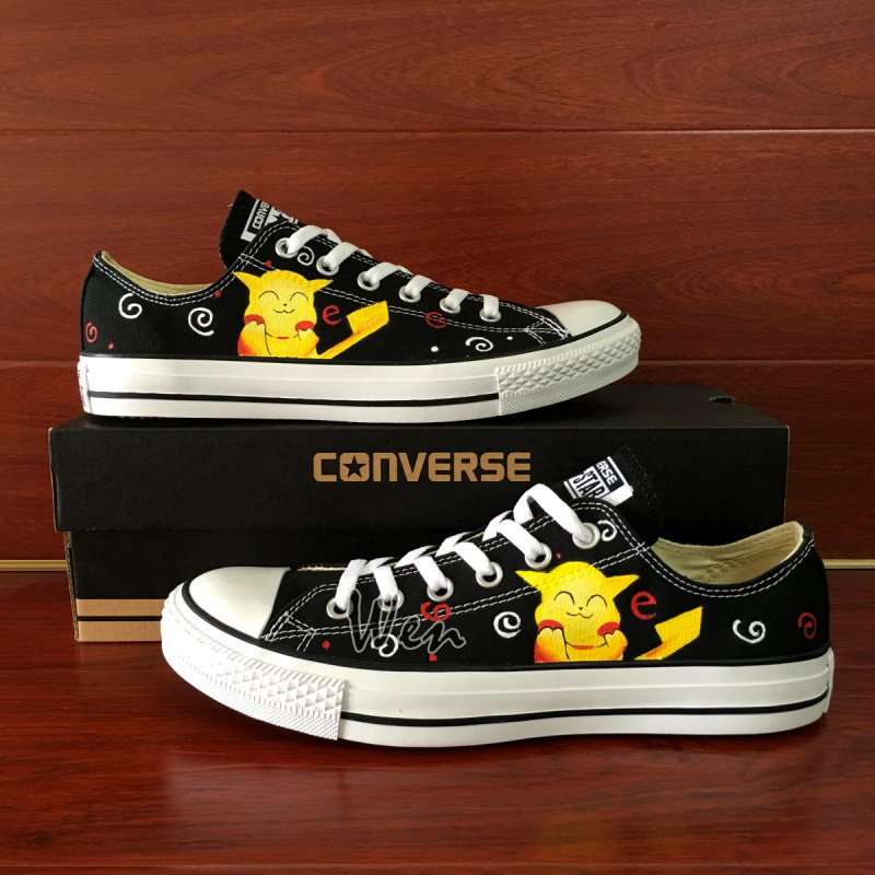 Anime Pokemon Pikachu Design Low Top Converse Shoes Hand Painted Canvas Sneakers