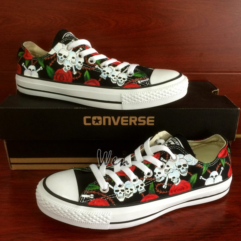 Original Hand Painted Shoes Roses Skull Design Converse Low Top Canvas Sneakers