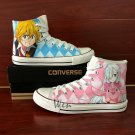Hand Painted Shoes Design Converse All Star Anime Nanatsu No Taizai High Top Canvas Sneakers