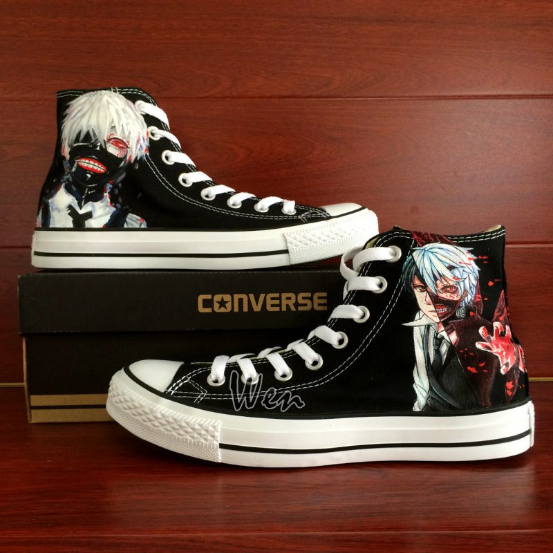 Anime Tokyo Ghouls Hand Painted Converse Shoes Man Woman High Top Canvas Sneakers